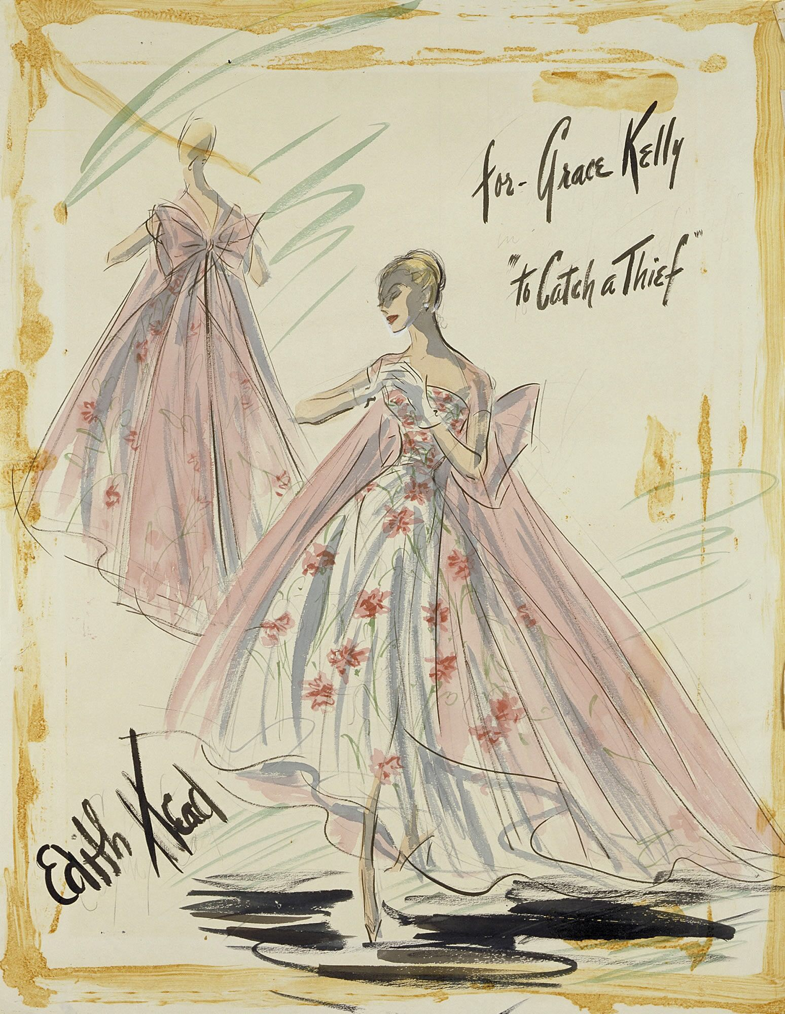 "Edith Head created memorable dresses for Grace Kelly in two Alfred Hitchcock films: REAR WINDOW (1954) and this 1955 caper on the Riviera, with Head referred to as ""my happiest assignment and most elegant wardrobe."""