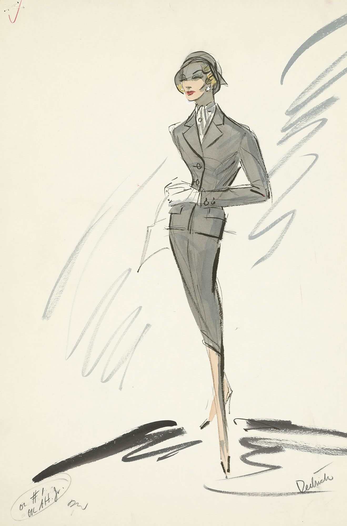 """This Edith Head outfit was designed for Marlene Dietrich in Billy Wilder's 1957 mystery adapted from a play by Agatha Christie. Head claimed the actress """"holds the endurance record for standing eight hours and ten minutes for a single fitting."""""""