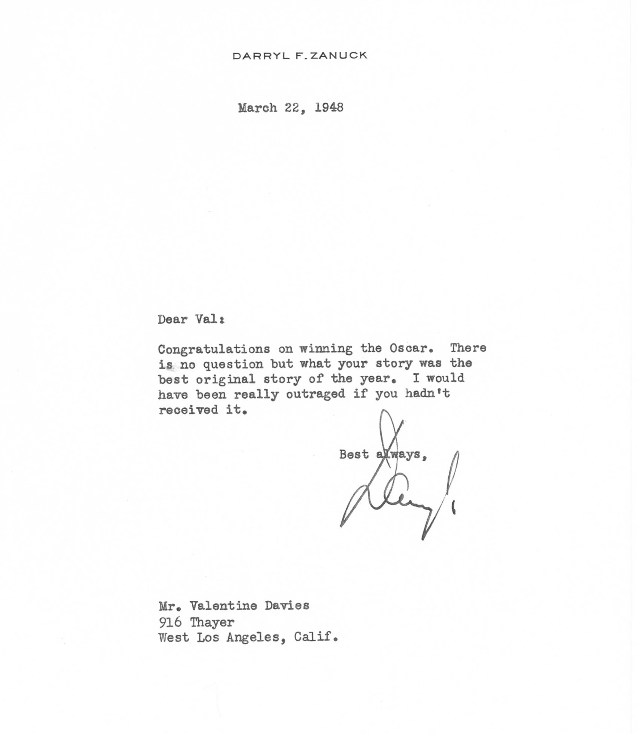 Letter from Darryl F. Zanuck